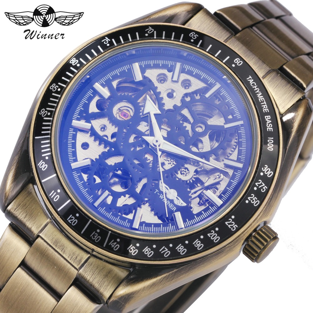 WINNER Copper Business Men Auto Watches Stainless Steel Strap Blue Coated Glass Skeleton Dial Top Brand Luxury Mechanical Watch winner business men auto mechanical watch stainless steel strap calendar green oyster classic style top brand luxury wristwatch