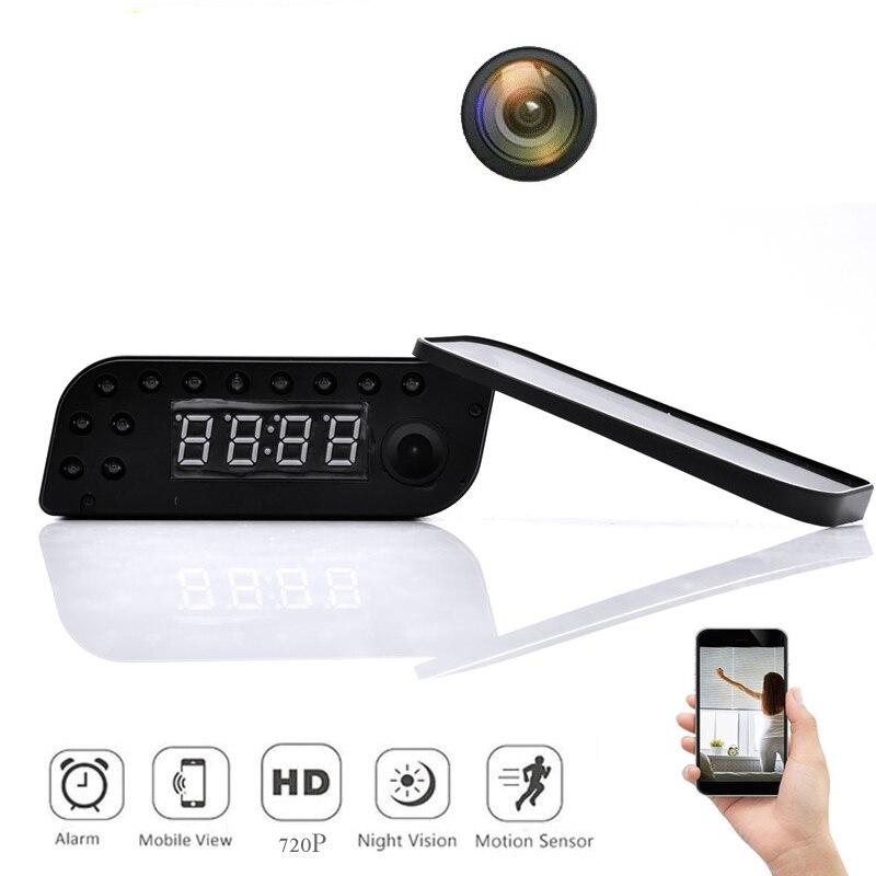 720P WIFI Mini Camera Time Alarm Wireless Nanny Clock P2P Security Night Vision Motion Detection Home Security Wireless Camera