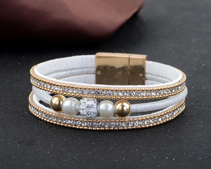 New 2018 Bule Beads Charm Bracelet For Woman Multiple Layers Leather Bracelets & Bangles Rope Fashion Female Jewelry