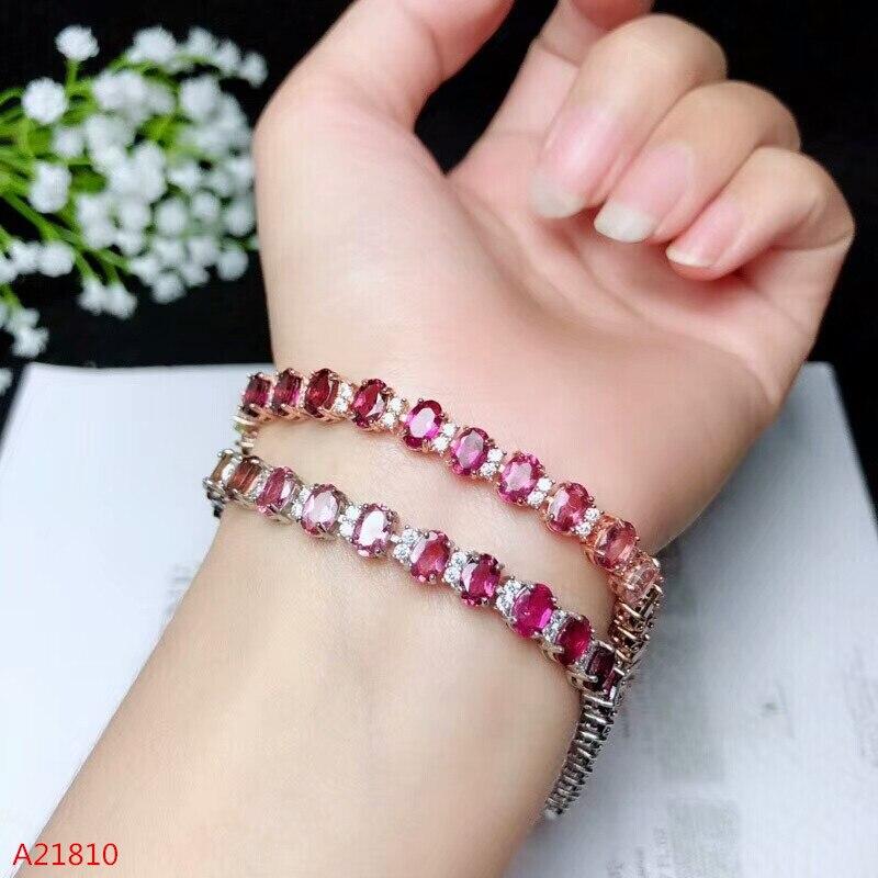 KJJEAXCMY fine bijoux 925 pur argent incrusté naturel tourmaline bracelet, femme style feu de couleur bijoux.