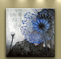 Free Shipping 100 Handpainted Canvas Chinese Style Blue Wate Lily Oil Painting Abstract Wall Art Noframed