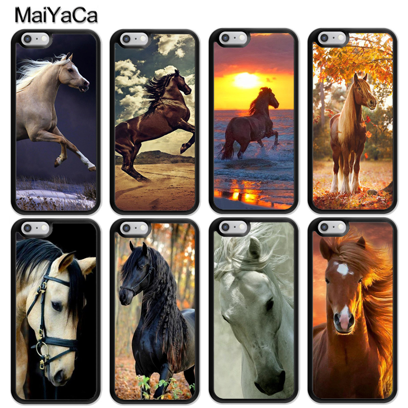 MaiYaCa Beautiful Horses Sunset Printed Soft Rubber Skin Phone Cases For iPhone 6 6S Plus 7 8 Plus X 5 5S SE Back Cover Coque