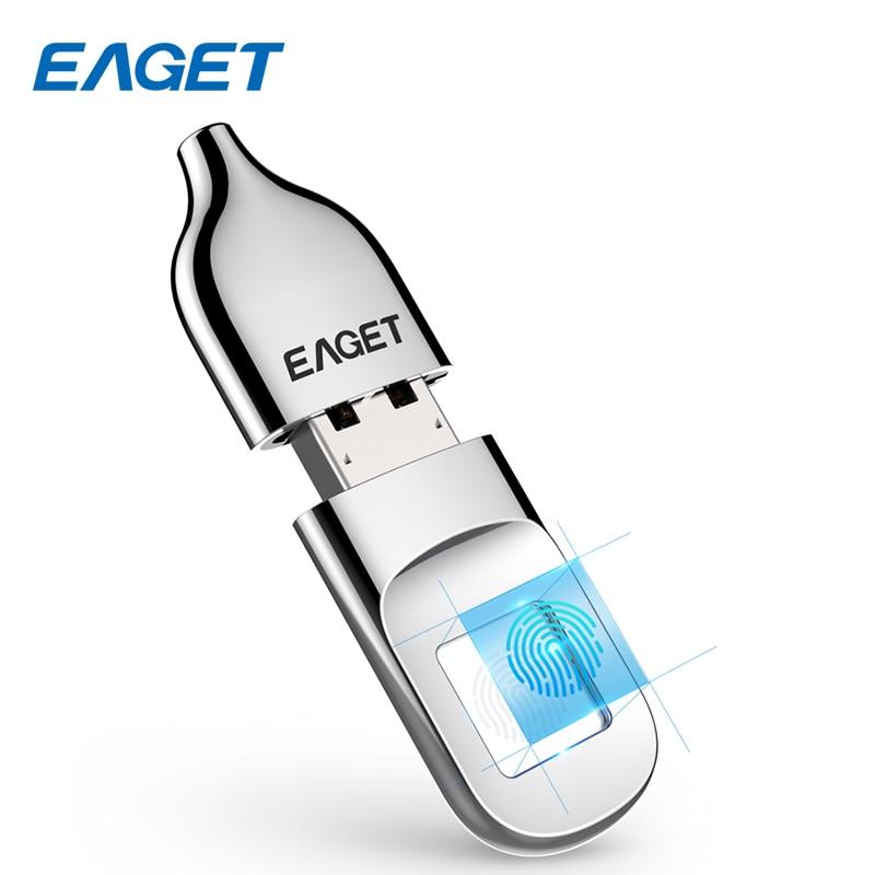 Eaget unidad flash USB 32 GB pendrive usb 2.0 Reconocimiento de huellas dactilares cifrado disco flash 64 GB memoria stick USB Mini pen drive
