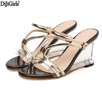 High Gladiator Sandals Women Clear Heels Wedge Sandals Sexy Crystal Transparent Heel Shoes Vogue Summer Ladies