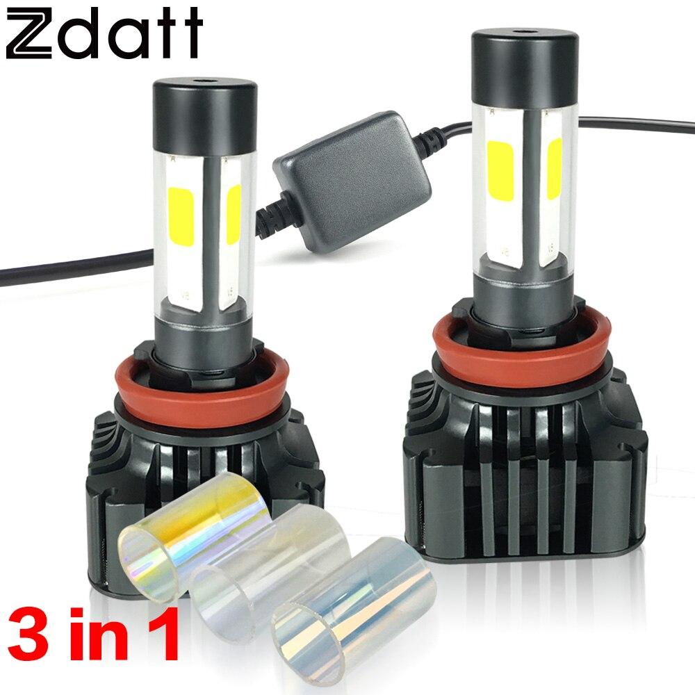 ФОТО 2Pcs 12000LM 120W H8 H11 Led Headlight High Power Bulb 12V Super Bright Car Led Light Yellow COB Fog Light Error Free Kits 6000K