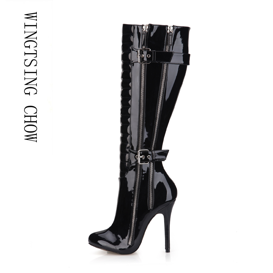 2016 Winter Black Red White Sexy Party Shoes Women Thin High Heels Buckle Zipper Ladies Knee-High Boots Zapatos Mujer 0640CBT-Y5 цены онлайн