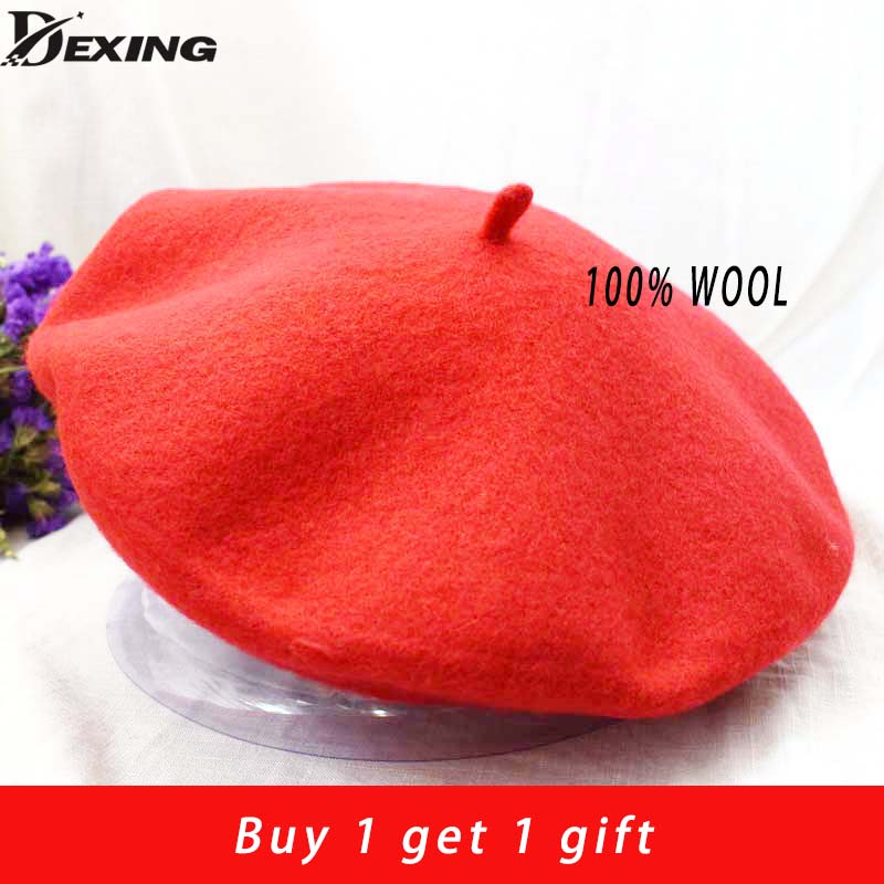 100% Real Wool Beret Spring Winter Women Lady Painter Warm Walking Hat French Artist Hat Beret Femme Girl Gift