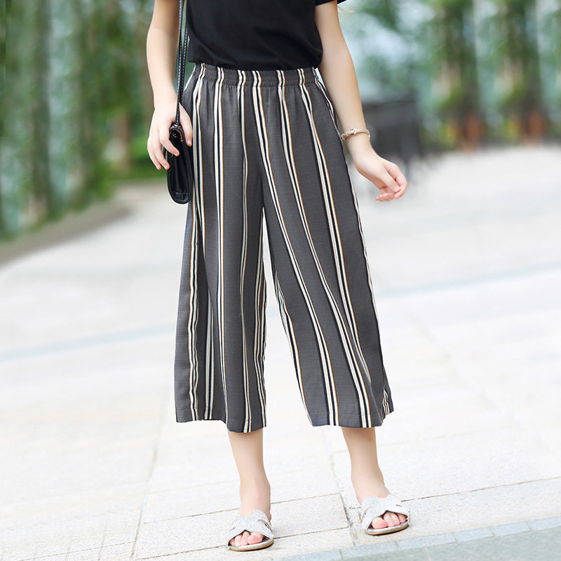 2016 Summer Loose Wide Leg Pants Capri for Teen Girls Kids Trouser Elastic Waist for Teenage Age 8 9 10 11 12 13 14T Years Old