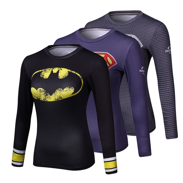 גבירותיי סרט מארוול סופרמן באטמן וונדר נשים של דחיסת חולצות ילדה של ארוך שרוול חולצה נשי כושר גרביונים חולצות