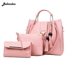 5e47f4d301d9 Кисточкой Для женщин сумки на плечо из модного кожзаменителя 3 шт. Композитный  сумка известного бренда Для женщин сумка кисточко.