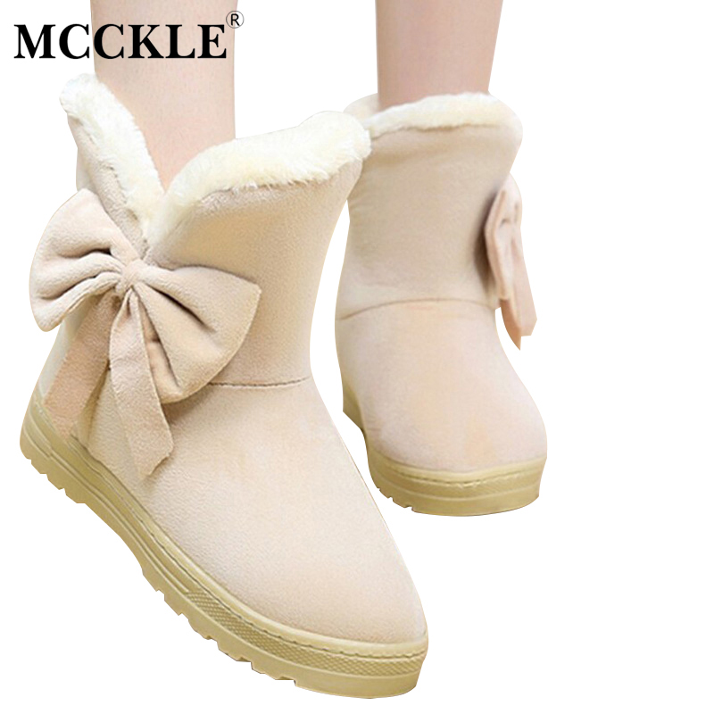 MCCKLE Female Warmer Plush Bowtie Fur Suede Rubber Flat Slip On Winter Ankle Snow Boots Women's Fashion Platform Black Shoes complete first 2 edition student s book without answers cd rom