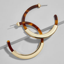 Ethnic boho gold Brown hoop earrings female Colorful Acrylic resin za 2019 big round circle earings wives jewelry accessories(China)