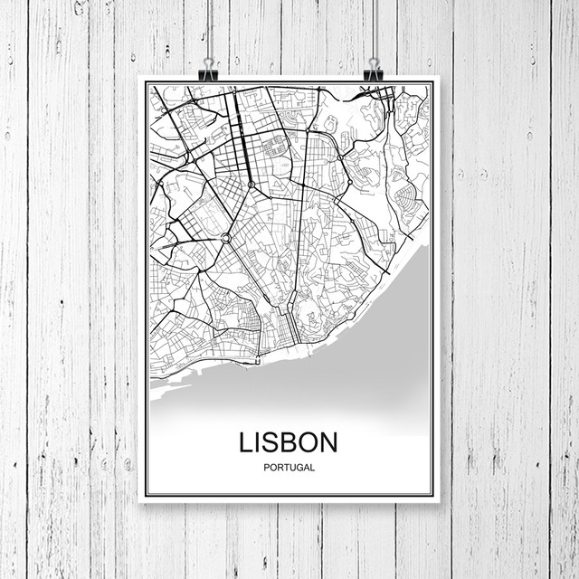 World City Map LISBON Portugal Print Poster Abstract Coated Paper - Portugal map to print