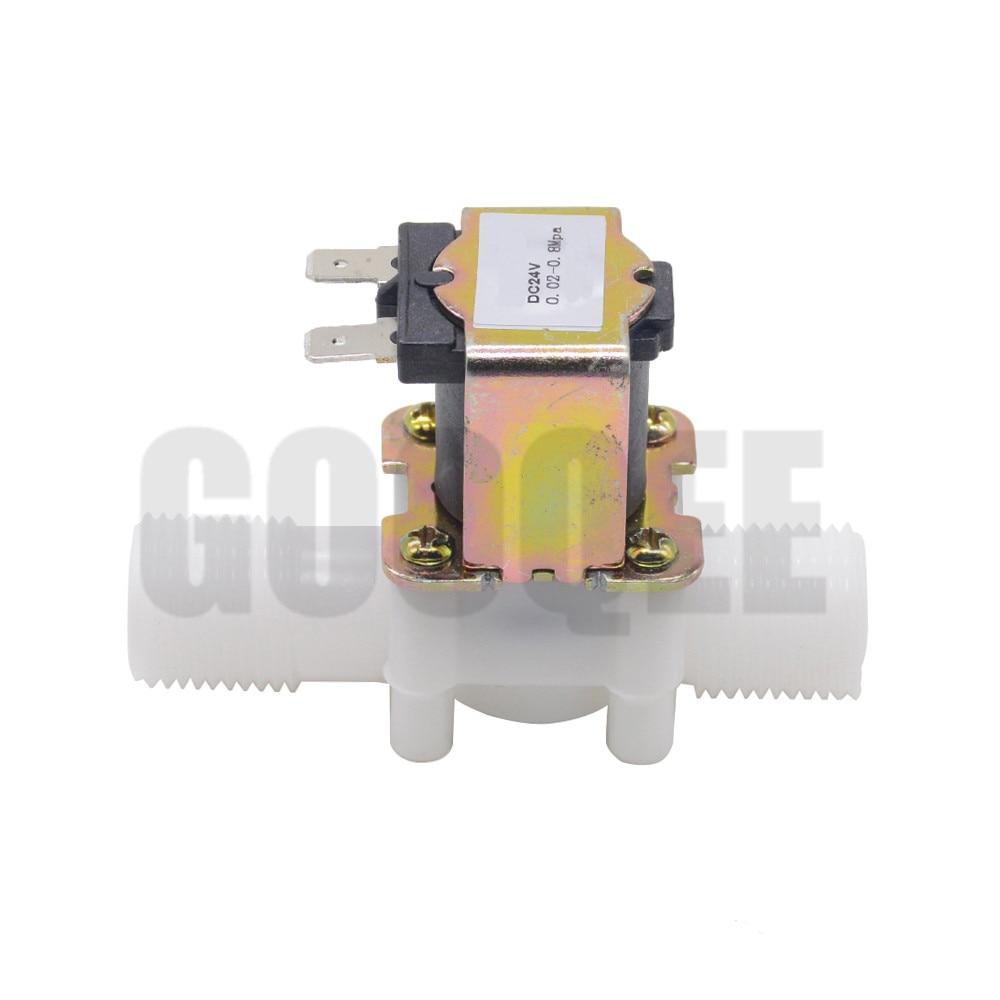 "1/2"" Plastic Solenoid Valve 12V 24V 220V Magnetic Washing Machine Dispenser Drinking Water Pneumatic Pressure Controller Switch 6"