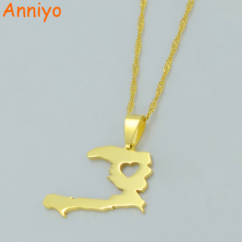 Anniyo Heart Haiti Map Pendant Necklace Ayiti Chain for Women/Men Gold Color Jewelry Haytian Gift,Map of Haiti #003821Anniyo Heart Haiti Map Pendant Necklace Ayiti Chain for Women/Men Gold Color Jewelry Haytian Gift,Map of Haiti #003821