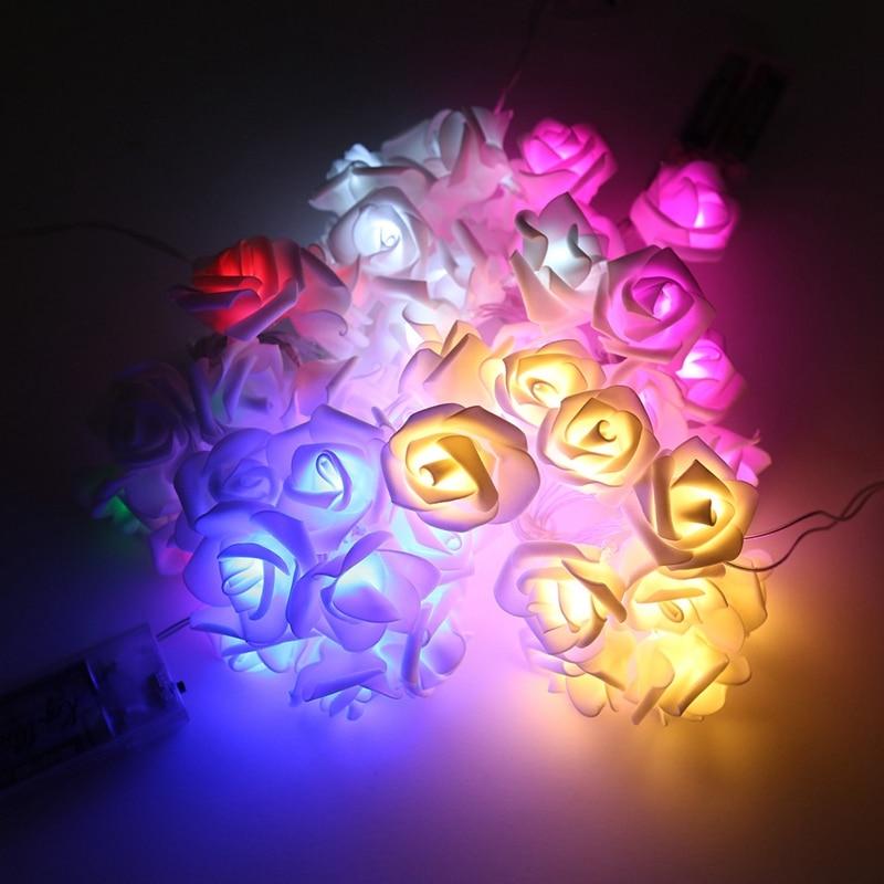 20leds rose flower fairy string light for indoor bedroom