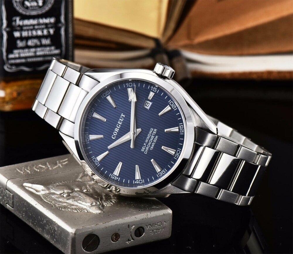 41 MM Corgeut szafirowy kryształ świecenia mechaniczny automatyczny zegarek męski niebieski dial ze stali nierdzewnej bransoletka zegarek w Zegarki mechaniczne od Zegarki na  Grupa 3