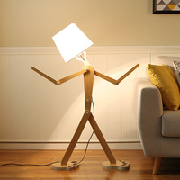 Modern minimalist adjustable posture humanoid floor lamp creative Nordic wood lamps living room bedroom WF506915