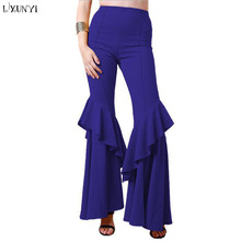 LXUNYI Hot Sale lángálló nadrág nőknek Formális női divat felső derék Slim Ruffle nadrág Női nagy Elegáns nadrág