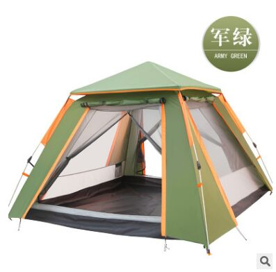 Fully automatic double layer black plastic coated silver glue thickened sunshade rain 5 8 people outdoor camping picnic tent - 5