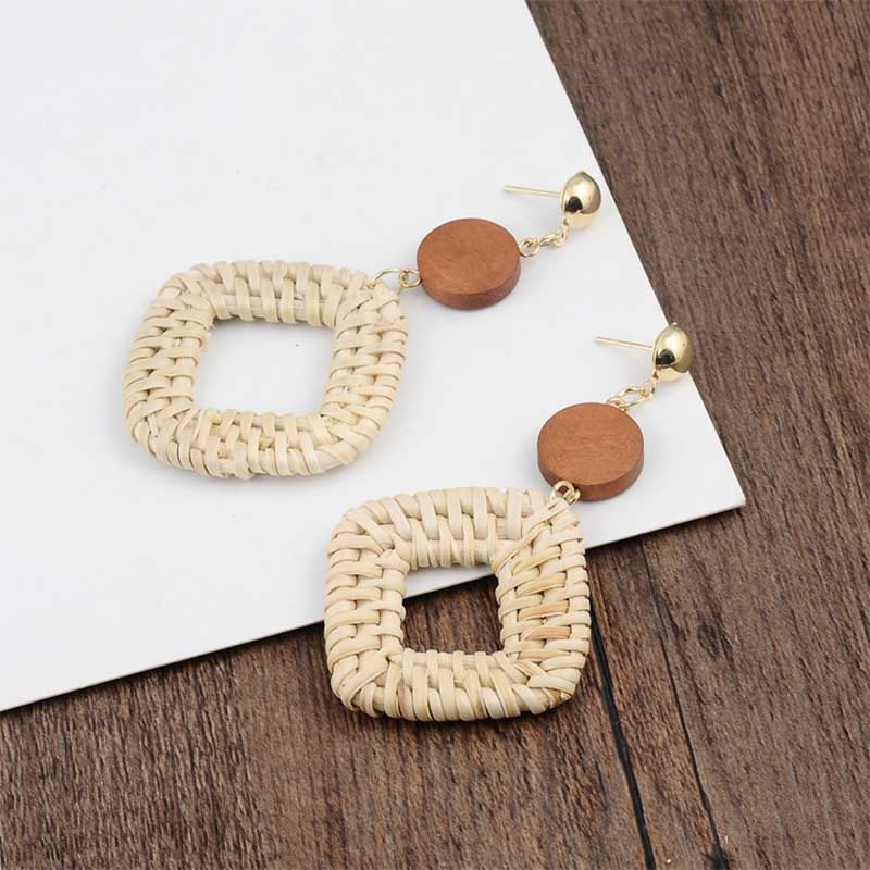 Geometric Wooden Straw Weave Women Beach Bohemian Circle Holiday Dangle Summer Drop Earrings Square Rattan Jewelry Earrings 8