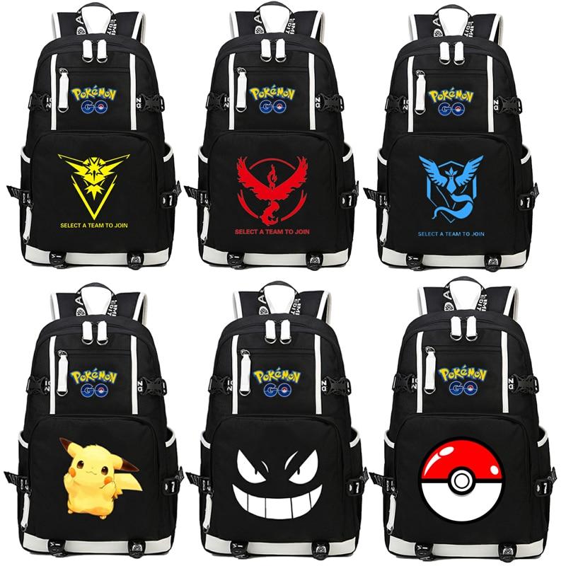 Poche monstres Pikachu sac à dos Cosplay Pokemon Go Gengar Anime toile sac lumineux cartable sacs de voyage