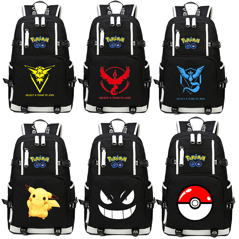 Pocket Monsters Pikachu Backpack Cosplay Pokemon Go Gengar Anime Canvas Bag Luminous Schoolbag Travel Bags japan pokemon harajuku cartoon backpack pocket monsters pikachu 3d yellow cosplay schoolbags mochila school book bag with ears