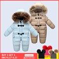 Diseñado para el invierno ruso bebé traje de nieve, 90% chaqueta de plumón de pato para niñas abrigos de invierno para niño traje de nieve