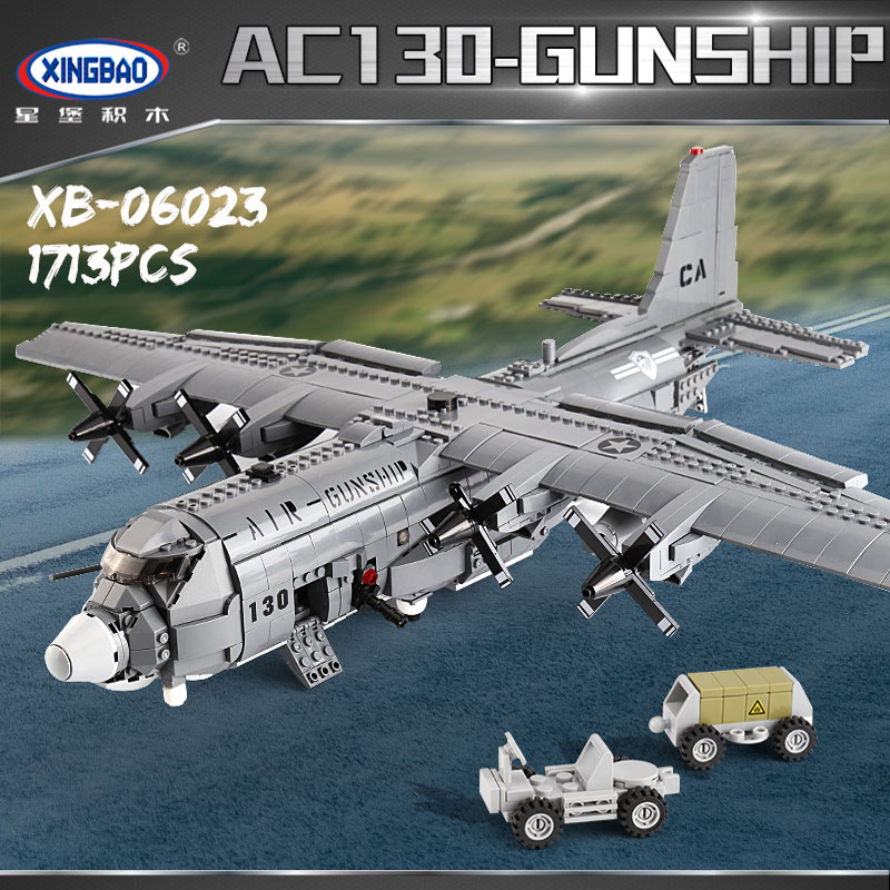 XINGBAO 06023 1713PCS Military Army Series The AC130 Aerial Gunboat Set Building Blocks Bricks Assembly Airplane