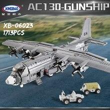 XINGBAO 06023 1713 шт. Военная армейская серия AC130 воздушная лодка набор строительных блоков Кирпичи сборка самолет модель Juguetes