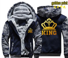 Dropshipping Ratu Raja Luminous Glow Goldenwinter Bulu Menebal Hoodie Jaket Mantel Zipper Sweatshirt Pecinta Kain(China)