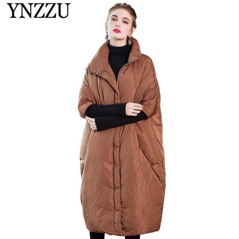 Brand 2019 New Winter Women's   Down   Jacket Elegant Long Style Knit Sleeve Duck   Down     Coat   Woman Thicken Warm Female Jacket AO803