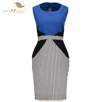Plus Size Bandage Dress Sexy Summer Vintage Blue And Striped Bodycon Dress 4XL 5XL 6XL Large