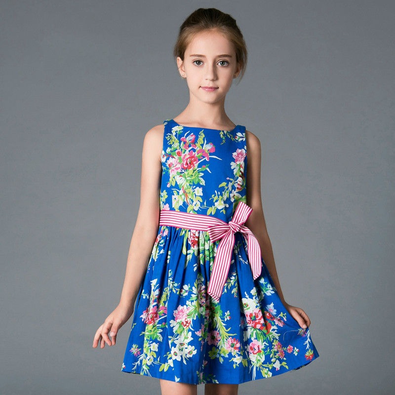 European and American children's wear, summer cotton, printed cotton sleeveless vest, girl's dress, children's princess dress. drop shoulder printed dress