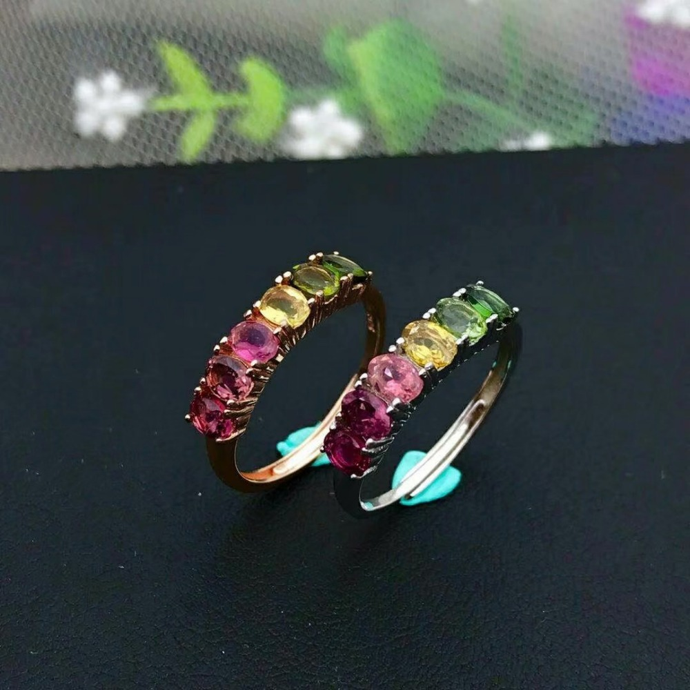 shilovem 925 sterling silver real Natural tourmaline Rings fine Jewelry women trendy wedding open wholesale plant