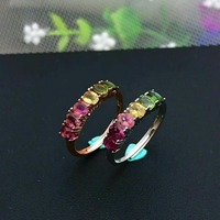 d7c71dc9d396 Shilovem 925 Sterling Silver Real Natural Tourmaline Rings Fine Jewelry  Women Trendy Wedding Open Wholesale Plant