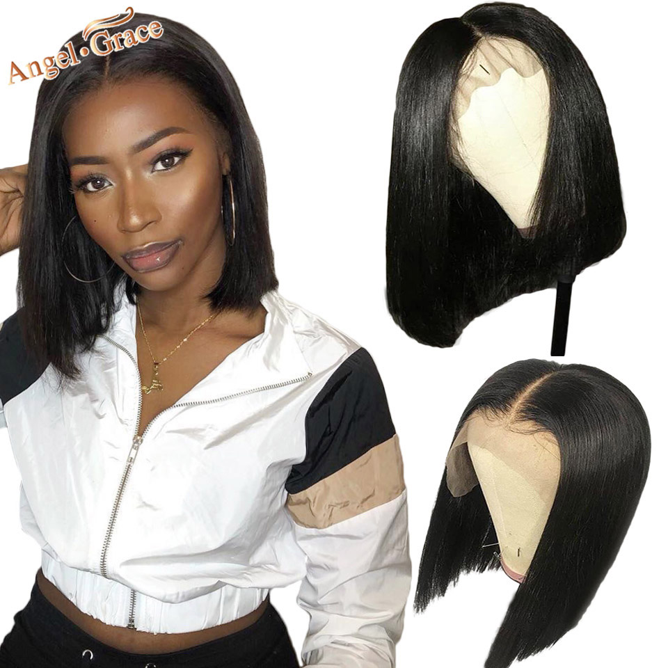Angel Grace Hair Short Bob Wigs Brazilian Straight Human Hair Lace Front Wigs For Women Natural Black Short Remy Human Hair Wigs(China)