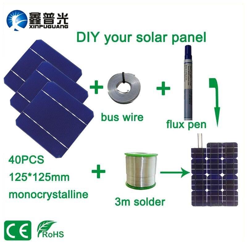 40PCS 2.8W/pcs DIY 100W solar panel kits 5*5 125*125mm monocrystalline solar cell flux pen+tab wire+bus wire DIY Photovoltaic
