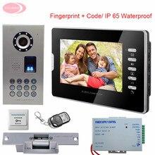 Video Door Phone 7inches Colors Video intercoms IP65 Waterproof Fingerprint System Unit Night Vision Home Intercom+Electric Lock