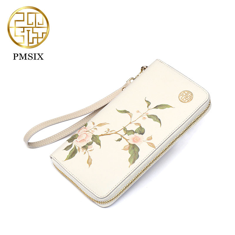 PMSIX 2018 Printing Flower Women Wallet Leather Female Purse Long Printing Floral Women Retro Leather Wallet Clutch Party Bag