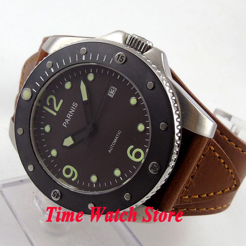 Parnis 43mm black dial luminous sapphire glass black ceramic bezel 10ATM 21 jewels MIYOTA Automatic mens watch 600 цена и фото