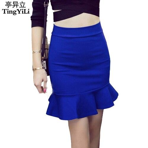 Red Tingyili Black Rose 3xl Mermaid Pencil Short Skirt Blue Yyb76gf