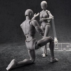 Image 2 - 14cm femme et homme figurine jouets Anime poupée mobile corps joint Mannequin bjd artiste Art peinture dessin corps modèle poupées