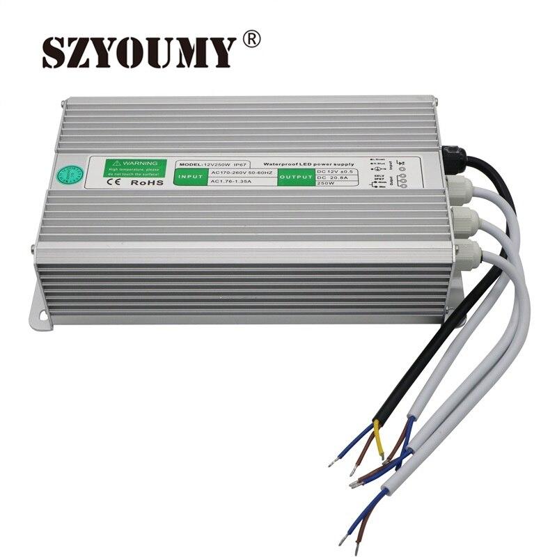 SZYOUMY 1 pièces LED Conducteur 12 V 250 W Étanche Pilote Électronique Transformateur 12 V 250 W Alimentation Transformateurs D'éclairage