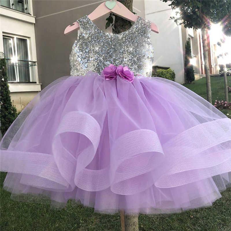 f15a35ea392bf Baby Girls Flower Sequin Dress First Christmas Fancy Ball Dress Tutu  Birthday Dresses For Girl Little