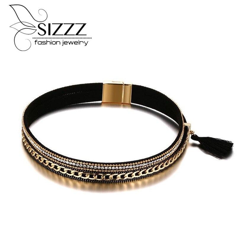 Sizzz 38.5 см длинные 17 мм широкий сплава из искусственной кожи воротник золотое покрытие Цепочки и ожерелья для девочек/Для женщин