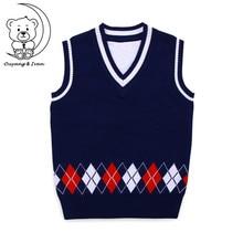 Детский свитер без рукавов Детский вязаный жилет в английском стиле с треугольным вырезом, 3 цвета двойной хлопковый жилет верхняя одежда, пальто для мальчиков
