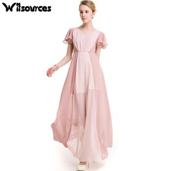 Witsources  women color block patchwork summer short sleeve chiffon dresses 2017 new casual maxi long beach dress SD3884