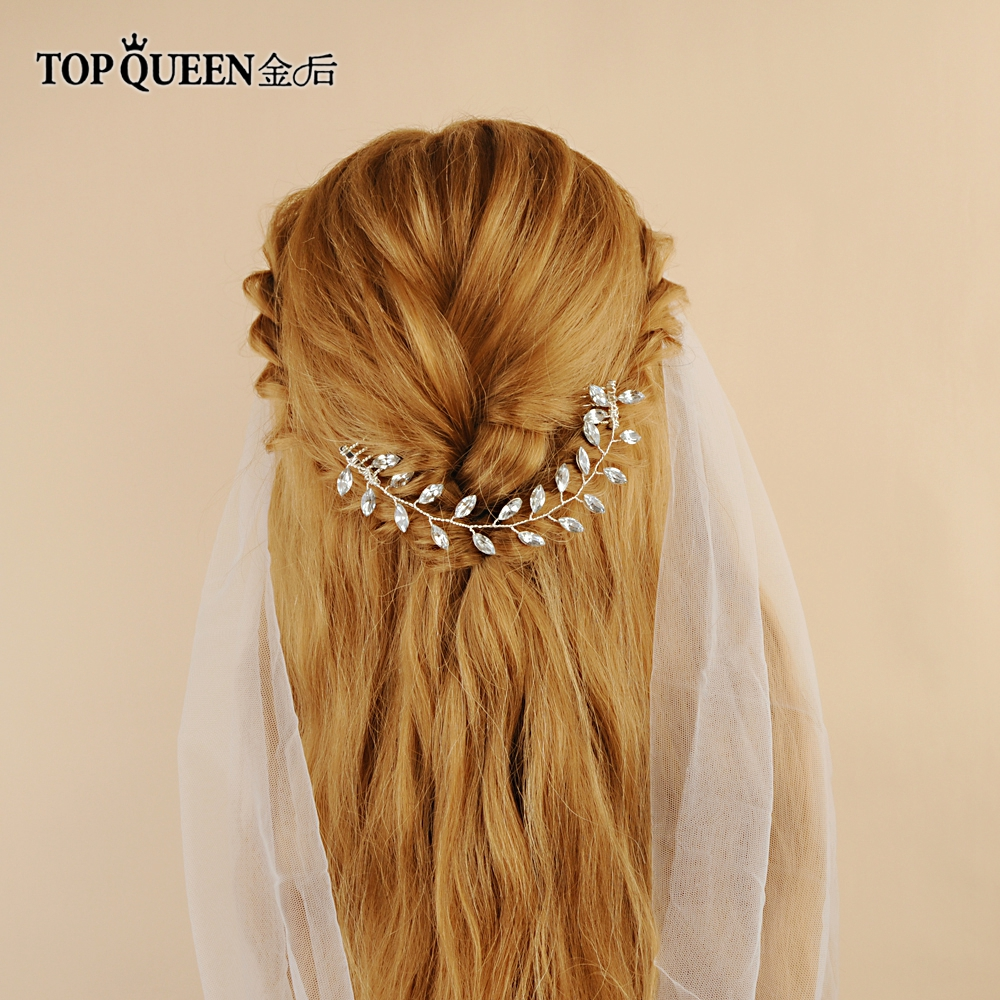 TOPQUEEN Bridal Edges Hair Comb Wedding Hair Comb Accessories Rhinestone Wedding Hair Accessory Bridal Hair Clip HP09