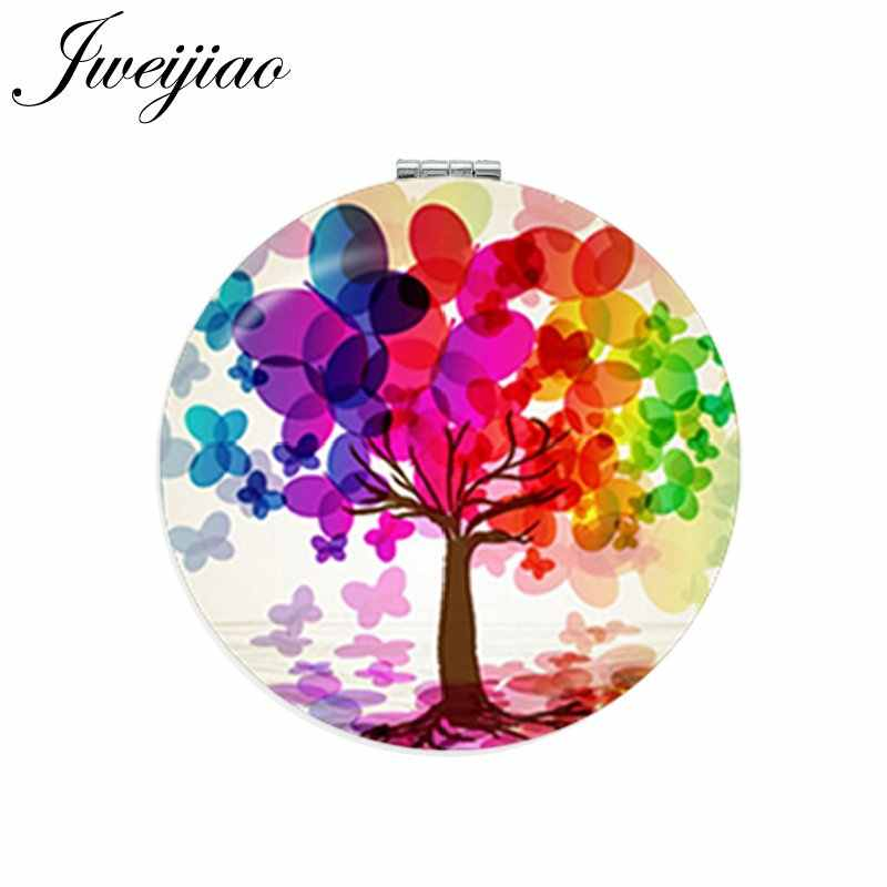 JWEIJIAO Colorful Panting Tree Round Makeup Mirror Mini Folding Compact Pocket Mirror 1X/2X Magnifying For Gilrs Beauty Health